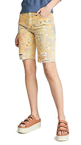Free People Women's Alani Printed Cutoff Shorts, Banana Combo, 26 (Free People Shorts)