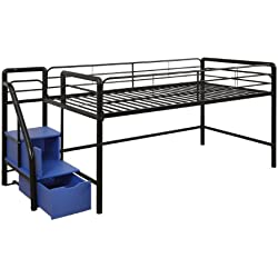 DHP Junior Twin Metal Loft Bed Storage Steps, Space-Saving Solution, Multifunctional, Black Blue Steps