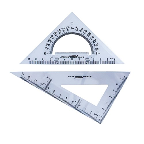 Acrylic Triangle Shape - HAND 2015 Small Professional Drawing Graphic Triangles with 30/60 and 45/90 Degrees, and Protractor - 13 cm and 12 cm - Set of 2