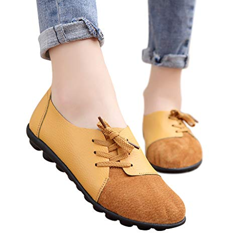 Women's Loafers Driving Moccasin Comfort Soft Leather Oxfords Coach Loafers 2019 New Flats Slip-On Slipper Shoes (US:5.5(35), Yellow)