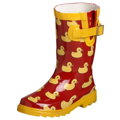 Amazon.com | Chooka Big Kid Rubber Ducky Rain Boot, Red/Yellow, 6 ...