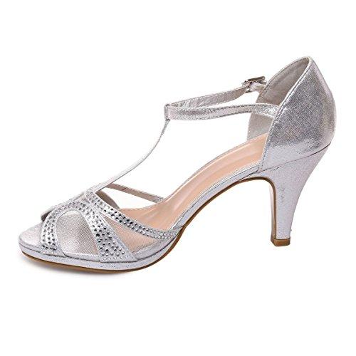 La Modeuse - Sandalias de Vestir de Material Sintético Mujer plata