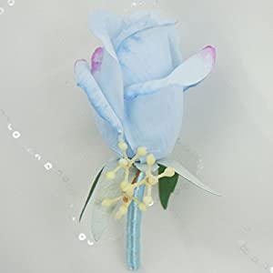 Lily Garden Artificial Rose Boutonniere Corsage with Berry (6, Light Blue) 107