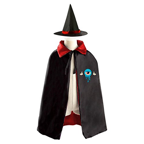 Dean Hardscrabble Costume (Children Kids Wizard Witch Cape With Hat Blue Monster Cartoon Cosplay Party Costume Set)