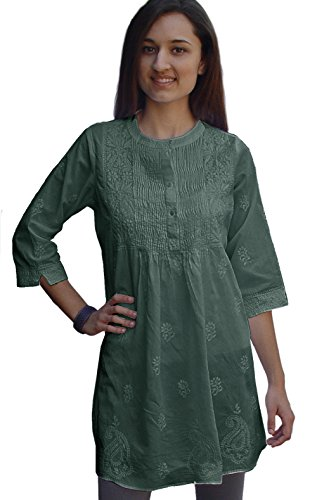 Ayurvastram Bibab Pure Cottn Hand Embroidered Front Pleated Tunic Top Kurti: Green, Sz 4