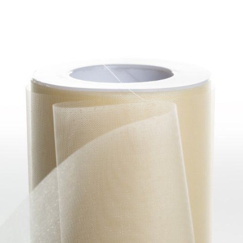 Koyal Wholesale 25-Yard Sheer Organza Fabric Roll, 6-Inch, Ivory