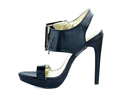 Vegan Sandals Strap Shoe Liliana Open High Buckle Black Oversize Trista Toe Leather Heels nZBTYOx