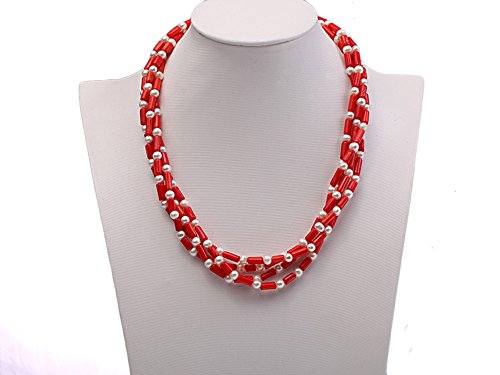 JYX Pearl Multi Strand Neklace Red Coral and 6mm White Round Freshwater Cultured Pearl Necklace for Women 19