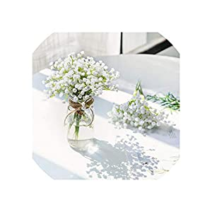 Old street 1 Piece White Babies Breath Flowers Artificial Fake Gypsophila DIY Floral Bouquets Arrangement Wedding Home Decor 62