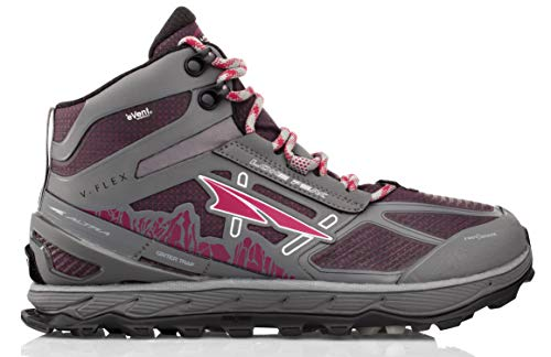 Altra Women's Lone Peak 4 Mid RSM Waterproof Trail Running Shoe, Gray/Purple - 11 B(M) US
