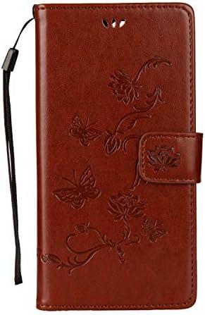 Zeebox® Sony Xperia XZ1 ケース, 高級感 人気 PUレザー エンボスバタフライパターン 財布型 ケース, 落下防止 衝撃吸収 ウォレッ カバー Sony Xperia XZ1 用 Case Cover, ブラウン