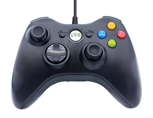 BRH USB Wired PC Game Handle Controller Shoulders Buttons Improved Ergonomic Design Joypad Joystick Gamepad for Microsoft Windows XP/7/8/10 (Black)