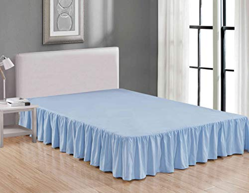 Sheets & Beyond Wrap Around Solid Luxury Hotel Quality Fabric Bedroom Dust Ruffle Wrinkle and Fade Resistant Gathered Bed Skirt 14 Inch Drop (Queen, Light Blue) (Skirts Blue Bed)