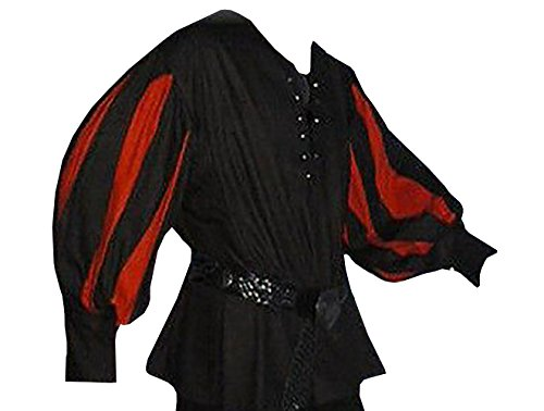 Karlywindow Men's Medieval Lace Up Wide Cuff Color Contrast Costume Shirts - Adult Medieval Mercenary Costumes