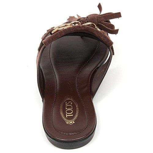 infradito C9098 donna scarpa sandalo TOD'S frangia marrone Marrone woman shoe fwdvwa