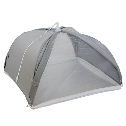 Kitchiker Large Pop Up Mesh Screen Food Cover Umbrella Tent with Zippered Bottom (Won't Blow Away!) - Protect Your Food From Bugs & Flies (1, 17.5 inches x 17.5 inches x 9.8 inches)
