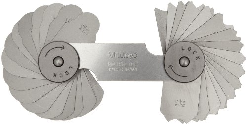 Mitutoyo 186-102, Radius Gage Set, 16 Pairs of Leaves, 17/64