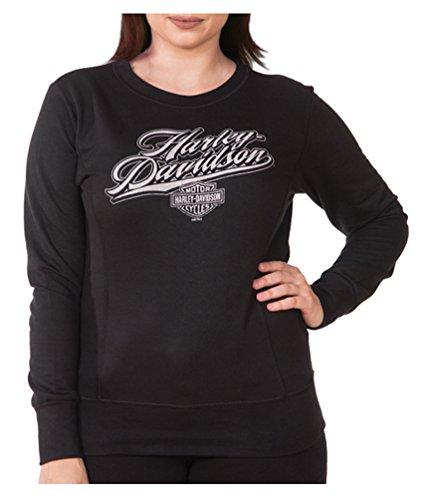 Harley-Davidson Women's Rich H-D Long Sleeve Pullover Crew Fleece, Black - Sweater Crew Rich