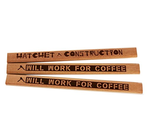 Funny Will Work For Coffee Carpenter Pencil and saw blade design Smiley Face Coffee Mug Bundle Pack by Hatchet Construction (Image #1)