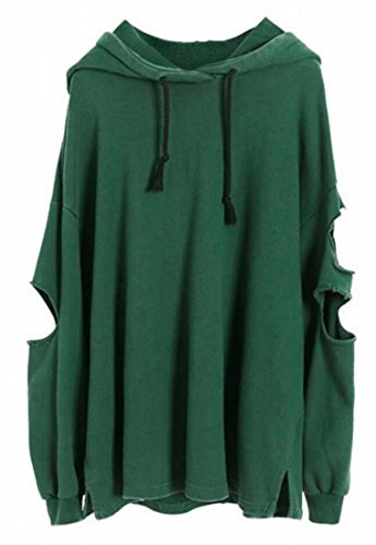 Tops Hip Hole Green amp;S Hop Women's Blackish Sweatershirt Hooded M amp;W gqwU86xF