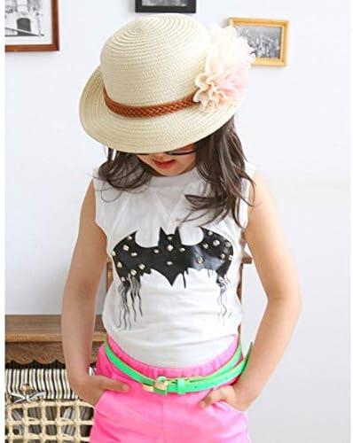 1 Pc Children Girls Straw Hat Visor Beach Sun Cap Panama Summer Sunhat Wide Brim Floppy # beige