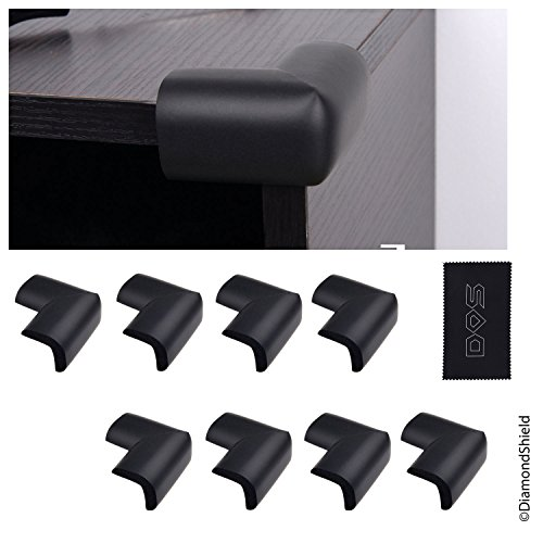 Table Corner Guards - 8 Pack, Black - Protects Your Baby / Child from Bumping or Falling Injuries - Spongy Cushion Material Makes Table / Other Furniture Corners ()