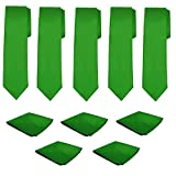 Mens Necktie Pocket Square 10 Pcs Set Solid Color Tie and Handkerchief for Wedding (Kelly Green)