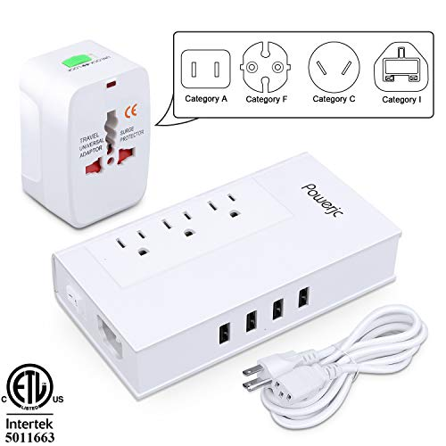 Voltage Converter UK/AU/US/EU Worldwide Plug Adapter with 3 Outlets and 4 Smart USB Charging Ports Powerjc(White) ()