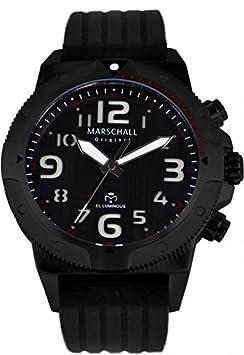 Wasserdichte Funk-Armbanduhr mit beleuchteten Ziffern Ilumino Negro