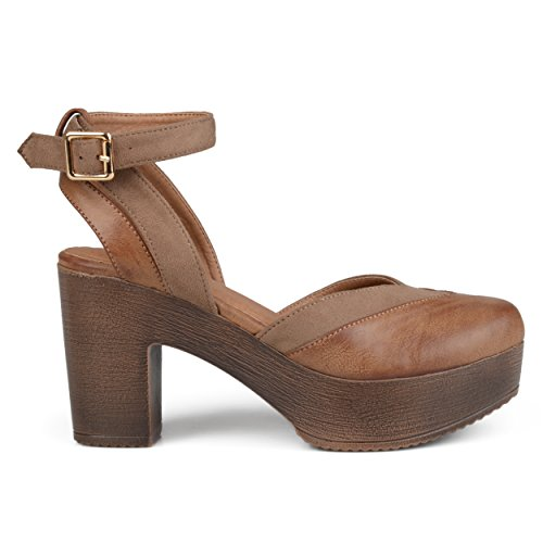 Brinley Co. Womens Rheya Faux Leather Faux Suede Ankle Wrap Platform Heels Taupe, 7.5 Regular US ()