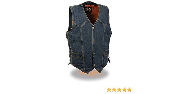 Blue, Large Milwaukee Performance Side Lace Basic Denim Vest