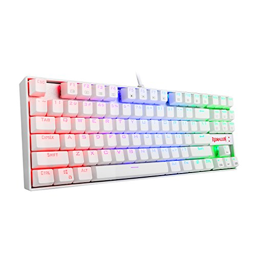 Redragon K552W-RGB Gaming Mechanical Compact USB Keyboard with Cherry MX Blue Switches Equivalent, Kumara, 87 Key LED RGB Backlit Computer Keyboard for Windows PC Games - White [RGB] ()