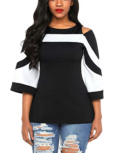67145fac02f Azokoe Womens Chic Office Ladies Colorblock Bell Sleeve Cold Shoulder Top  (XS-XXXXXL)