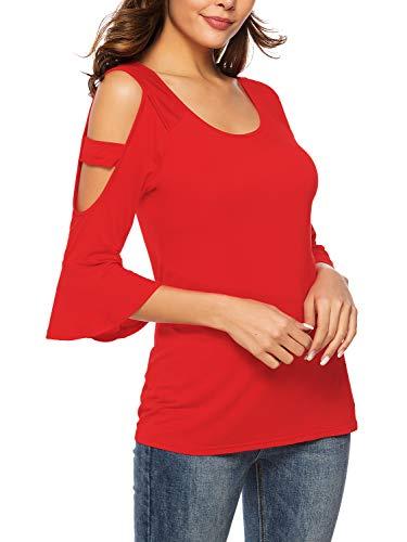 Florboom Womens Plain Round Neck Tee Shirts Three Quarter Sleeve T Shirt Red XL (Three Quarter Sleeve Tshirt)