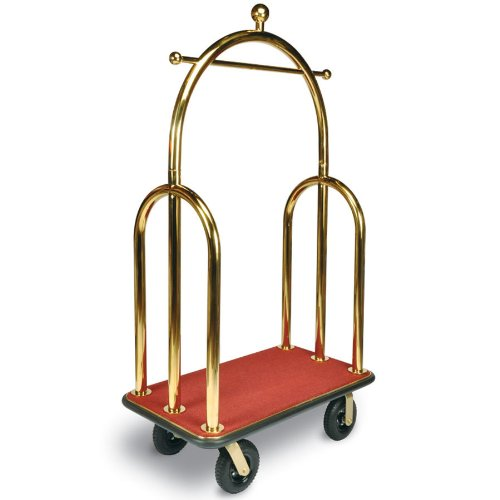 csl-3533bk-030-red-trident-style-titanium-gold-bellmans-cart-with-red-carpet-base-black-bumper-cloth