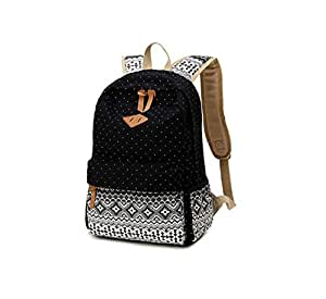 High quality Dot Canvas Computer Travel Portable Student backpack-black[zZ]
