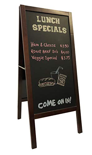 5 Star North Two-Sided, Mahogany Finish, Heavy Duty A-Frame, Indoor/Outdoor Magnetic Chalkboard. Show Your customers, Friends and The World What's on Your menu, Agenda, or on Your Mind!