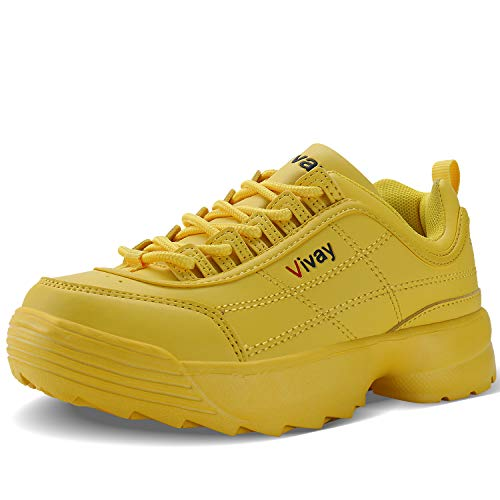 Vivay Boys Girls Running Shoes Sports Sneakers Walking Shoes for Little Kid Yellow (Jordan Kids Girl Shoes)