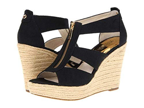 (Michael Kors Womens Berkley Platform Wedge Open Toe Casual, Black, Size 9.5 Boau)
