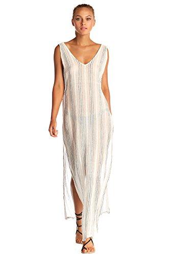 Vitamin A Women's Ren Stripe Tradewinds Maxi Dress Swim Cover Up Ren Stripe L