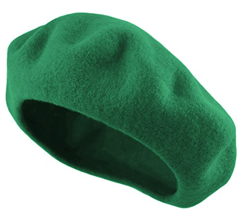 Green Womens Beret - Deewang Women's Men's Solid Color Plain Wool French Beret One Size (Kelly Green)
