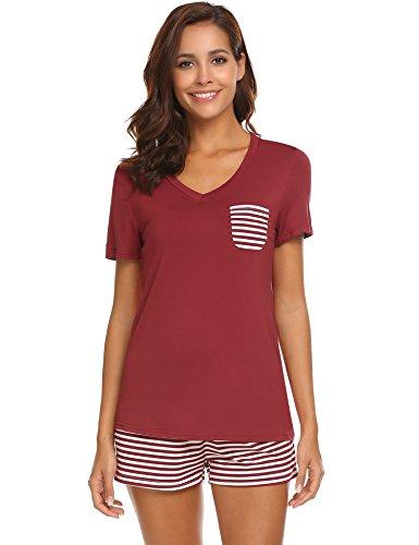 e17b46fe9a1 Hotouch Womens Pajama Set Striped Short Sleeve Sleepwear Pjs Sets ...