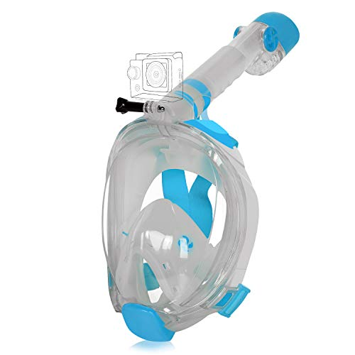 - Unigear Full Face Snorkel Mask [2019 Safety Upgraded Version] - Panoramic 180° View with Handler Detachable Camera Mount, Anti-Fog Anti-Leak Free Breath Design (Sky Blue, Small/Medium)