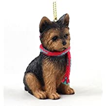 Yorkie (puppy cut) with Scarf Christmas Ornament (Large 3 inch version) Dog