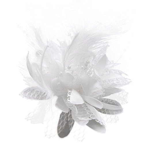 (Pop Your Dream Vintage Women Hairpin Silk Floral Bridal Feather Lace Fancy Wedding Party Cocktail Bead Hair Accessories, White, One Size)