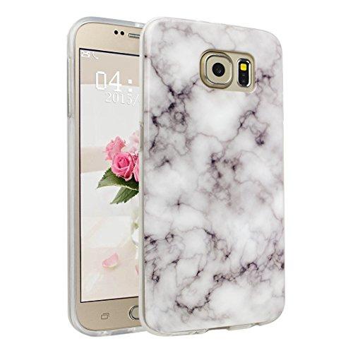 Galaxy S6 Funda, Asnlove Carcasa de Gel TPU Silicona con Textura de Mármol Slim Soft Flexible Anti-Arañazos Espalda Parachoques Tapa Trasera Case Caso para Samsung Galaxy S6 G920 Diseno en Blanco Color-7