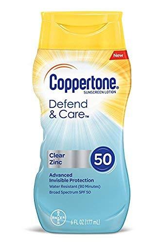Coppertone Defend & Care Clear Zinc SPF 50 Sunscreen Lotion,