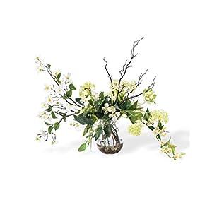 Petals Dogwood & Snowball Hydrangea Silk Flower Arrangement 16