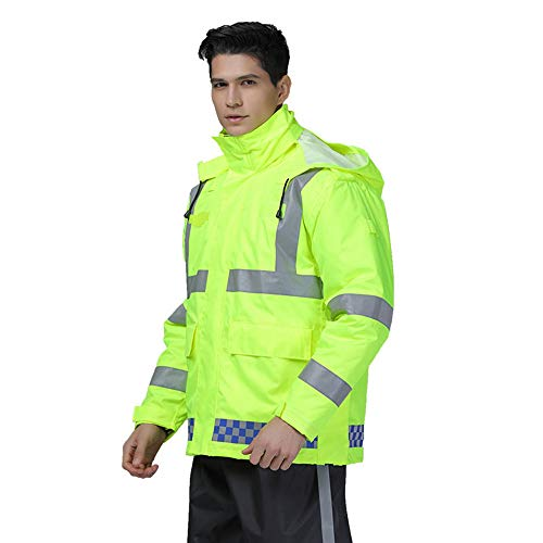 GSHWJS- trash can Reflective Cotton Jacket Winter Traffic Duty Warning Safety Jacket Detachable Cotton Suit, Green Reflective Vests (Size : S) by GSHWJS- trash can (Image #2)