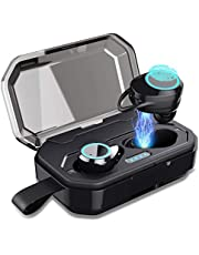 Wireless Bluetooth Headphones, Feob True Wireless Earbuds【120H Playtime】Sports Wireless Earphones with Mic & Charging Case 3D Stereo Sound Noise Cancelling IPX7 Waterproof Earphones for iPhone Samsung